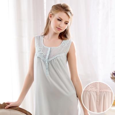 羅絲美睡衣 - 恬靜時光無袖洋裝睡衣(優雅藍)