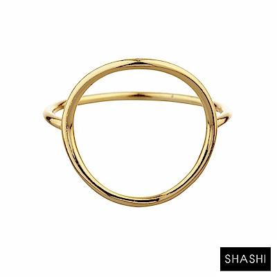 SHASHI 紐約品牌 Natalie 優雅圓滿圈圈戒指  925 純銀鑲 18 K金