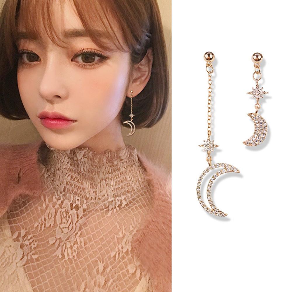 梨花HaNA 韓國925銀針城裡的月光星星不對襯耳線耳環