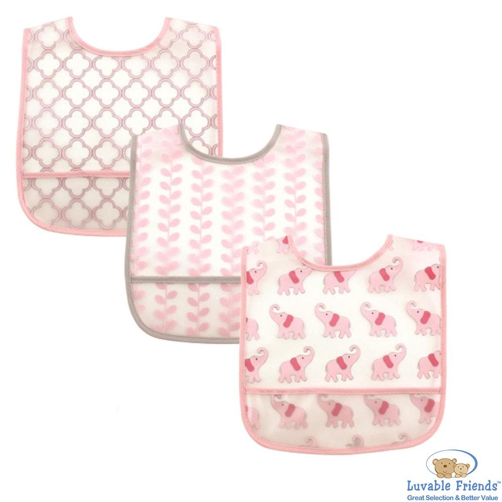 Luvable Friends 粉紅幾何大象防水底層造型可接食物圍兜口水巾三件組