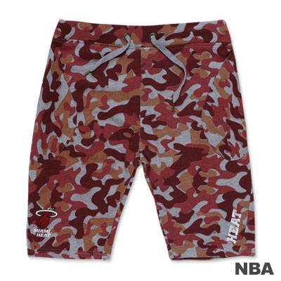 NBA-邁阿密熱火隊迷彩抽繩休閒短褲-紅色(男)