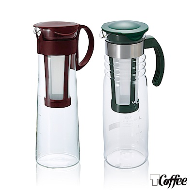 TCoffee HARIO冰萃咖啡壺茶組2件組(冷泡咖啡壺、深綠苗冷泡茶壺)
