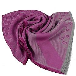 GUCCI 經典G LOGO披肩式圍巾/大方巾(紫)