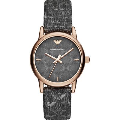 ARMANI Classic 品牌壓紋時尚女錶-灰x玫瑰金框/28mm
