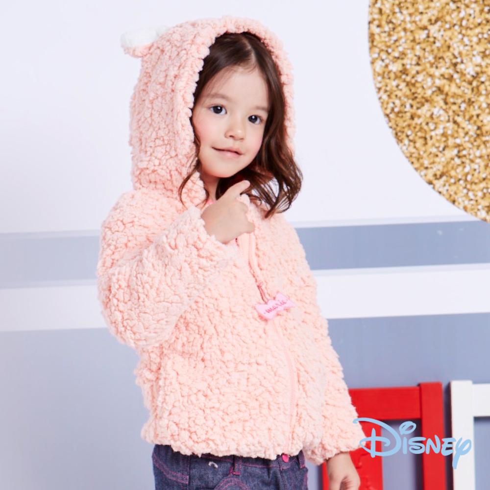 Disney暖暖小貓毛絨連帽外套粉桔