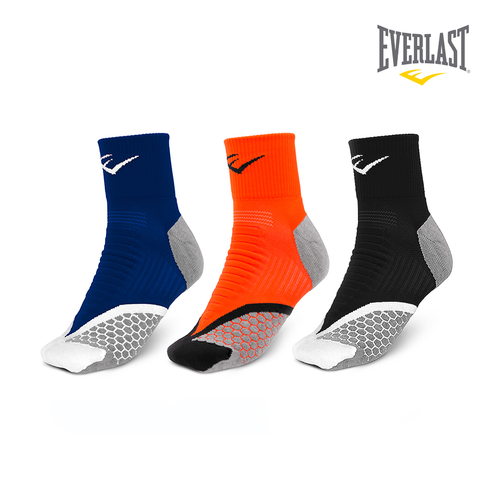 EVERLAST 美國運動品牌-棉質運動中長襪三件組-男