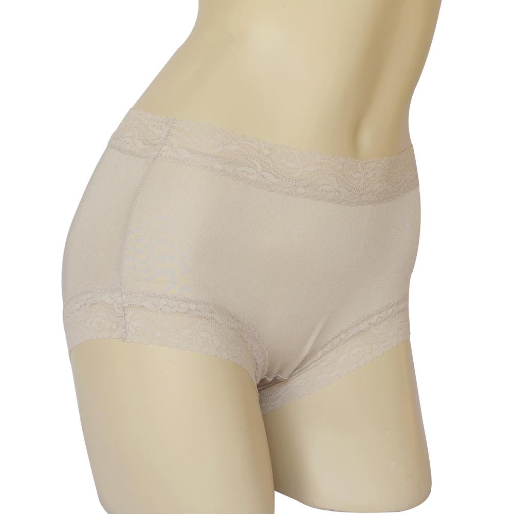 平口褲 100%蠶絲蕾絲平口內褲2件組M-XXL(銀灰) Seraphic