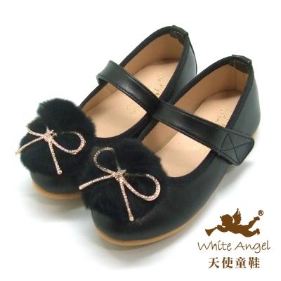 天使童鞋 萌球鑽石蝴蝶結娃娃鞋(中大童) 黑 JU840