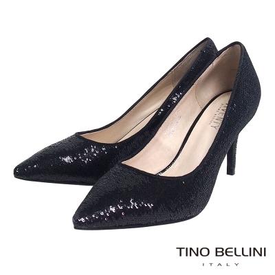 Tino-Bellini-閃耀絢麗細緻珠片跟鞋-黑