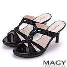 MAGY 時尚優雅名媛 燙鑽造型細高跟涼拖鞋-黑色