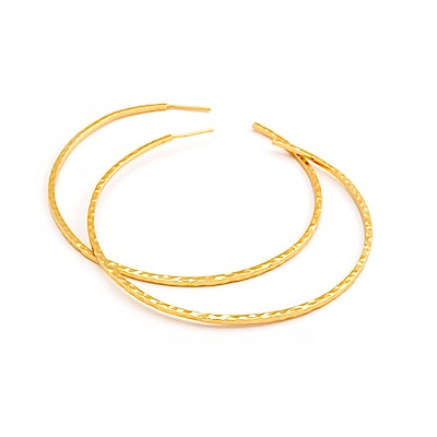 GORJANA 大C圓耳環 冰裂紋設計 鑲18K金 Taner XL Hoops