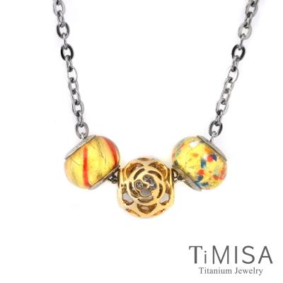 TiMISA 玫瑰花語 金 純鈦串飾 項鍊