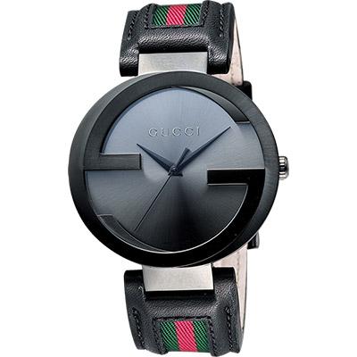 GUCCI-Interlocking-時尚元素腕錶-鐵灰x黑-42mm