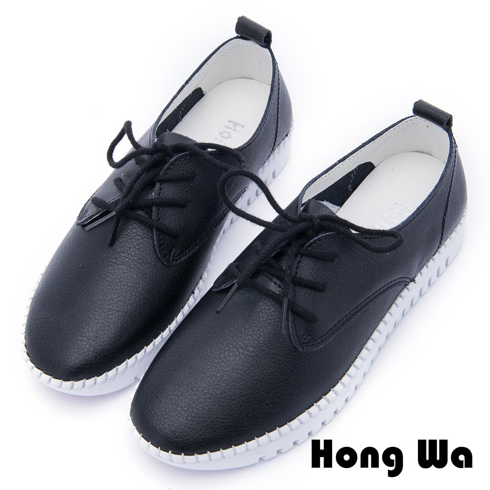Hong Wa - 運動休閒風格綁帶舒適便鞋 - 黑