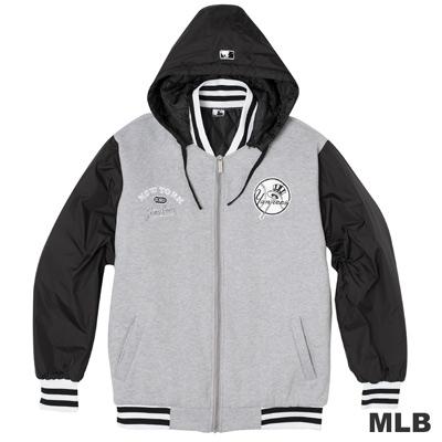 MLB-紐約洋基隊鋪棉連帽棒球外套-麻灰(男)