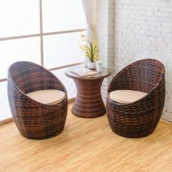 Bernice-渡假風休閒藤編桌椅組(一桌二椅)-60x60x56cm