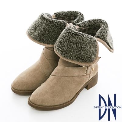 DN 潮流魅力 2WAY設計牛麂皮反折中筒靴 灰綠