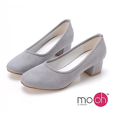 mo.oh-素面麂皮絨質感方頭中跟粗跟鞋-灰色