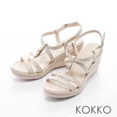 KOKKO-休閒渡假線條真皮繫帶楔型涼鞋-米白