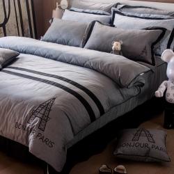 OLIVIA  奧斯汀 深灰 雙人床罩兩用被套五件組 設計師系列