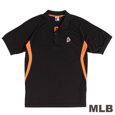 MLB-巴爾的摩金鶯隊開釦式排汗POLO衫-黑(男)