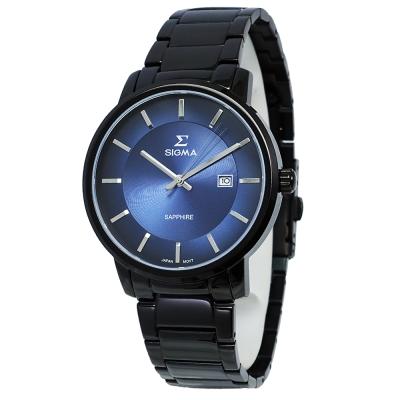 SIGMA 質感簡約藍寶石時尚情人男錶-藍X黑/40mm