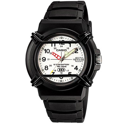 CASIO 新版戰鬥軍旅商用指針錶(HDA-600B-7B)-白面/41.1mm