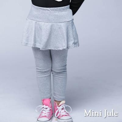 Mini Jule 童裝-內搭褲裙 純色傘擺棉質內搭長褲裙(灰)