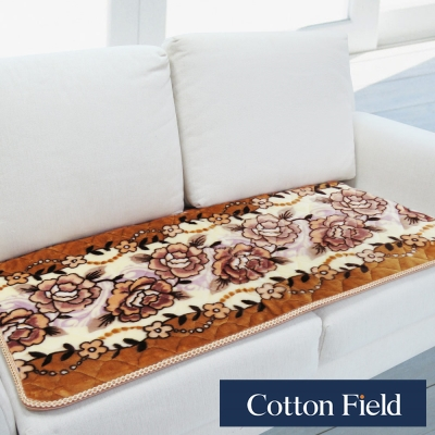 棉花田 雪芙絨 印花超柔雙人沙發坐墊-金黃色
