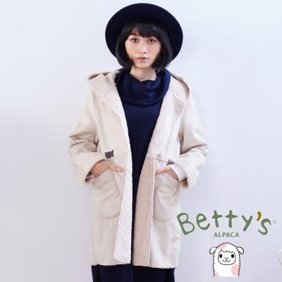 betty's貝蒂思 可愛小貓造型口袋麂皮內刷毛連帽大衣(米色)