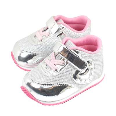 Swan天鵝童鞋-金屬光澤愛心輕量機能鞋1522-銀