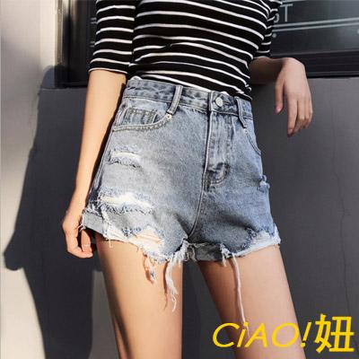 刷損破邊口袋牛仔短褲 (共二色)-CIAO妞