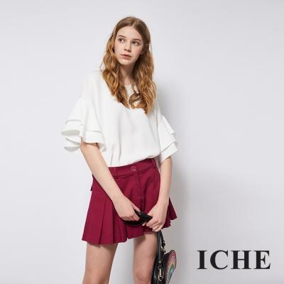 ICHE 衣哲 簡約百搭挺版俐落打摺造型褲裙