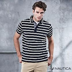 Nautica 夏日清新條紋短袖POLO衫 -深藍