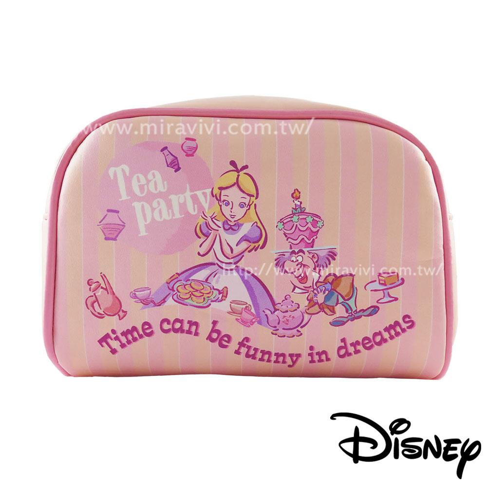 Disney迪士尼愛麗絲夢遊仙境方型皮革化妝包/萬用包-TeaParty