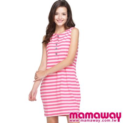 Mamaway-異色鈕扣條紋背心式孕婦-哺乳洋裝