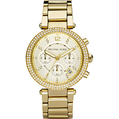Michael Kors MK5354 美式奢華晶鑽三眼計時腕錶-金