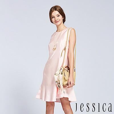 JESSICA - 時尚亮麗素面洋裝(淺粉)