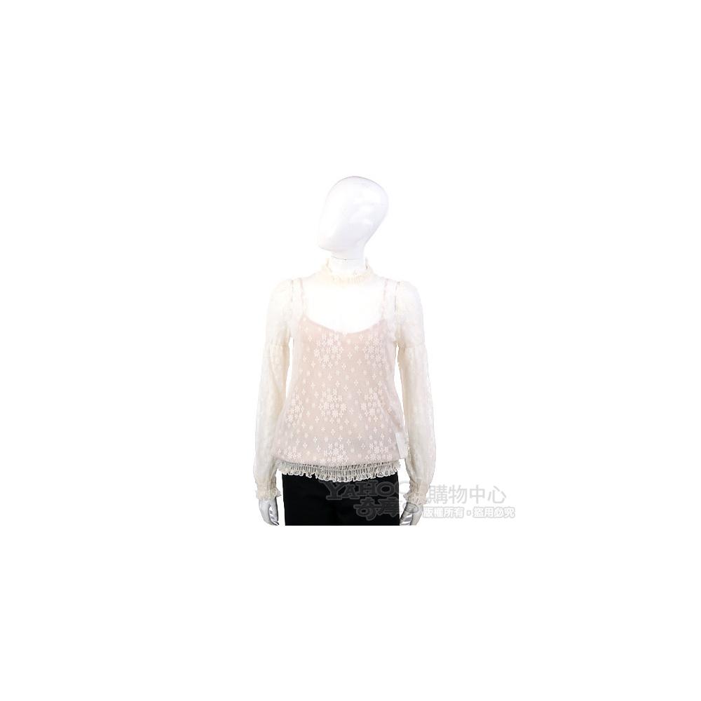 VALENTINO 米白色織花蕾絲長袖上衣(附內襯)