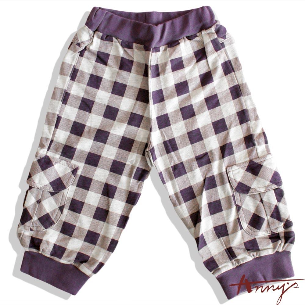 休閒格紋鬆緊束口雙口袋長褲*2334紫