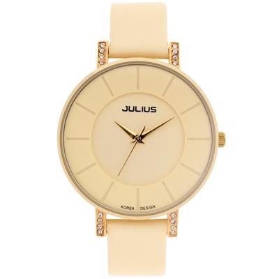 JULIUS聚利時 第一個微笑簡約設計大鏡面腕錶-鵝黃/38mm