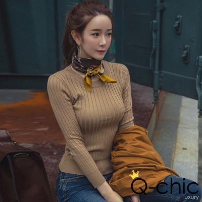 正韓 圓領長袖坑條針織T恤 (共三色)-Q-chic