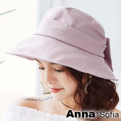AnnaSofia 水玉點點俏結 遮陽防曬漁夫帽盆帽(藕粉系)