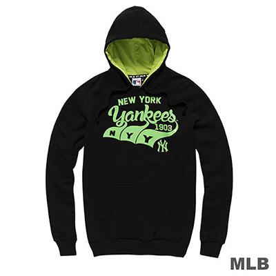 MLB-紐約洋基隊連帽波浪印花長袖厚T恤-黑(男)
