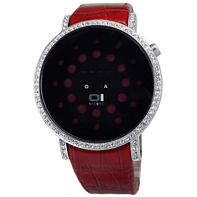 THE ONE 數位美感‧華麗晶鑽跳燈圓形皮帶腕錶-黑紅/41mm
