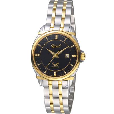 Ogival愛其華典藏真鑽時尚腕錶(350-04LSK)黑x雙色/30mm