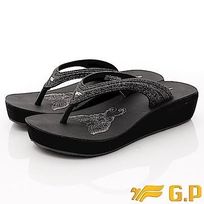 GP時尚涼拖-典雅夾腳楔形鞋款-EI523W-10黑(女段)