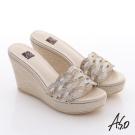 A.S.O 璀璨系列 華麗水鑽絨面涼拖鞋 金色