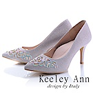 Keeley Ann高貴奢華~雷射雕花玫瑰晶鑽真皮軟墊高跟鞋(粉紅色)