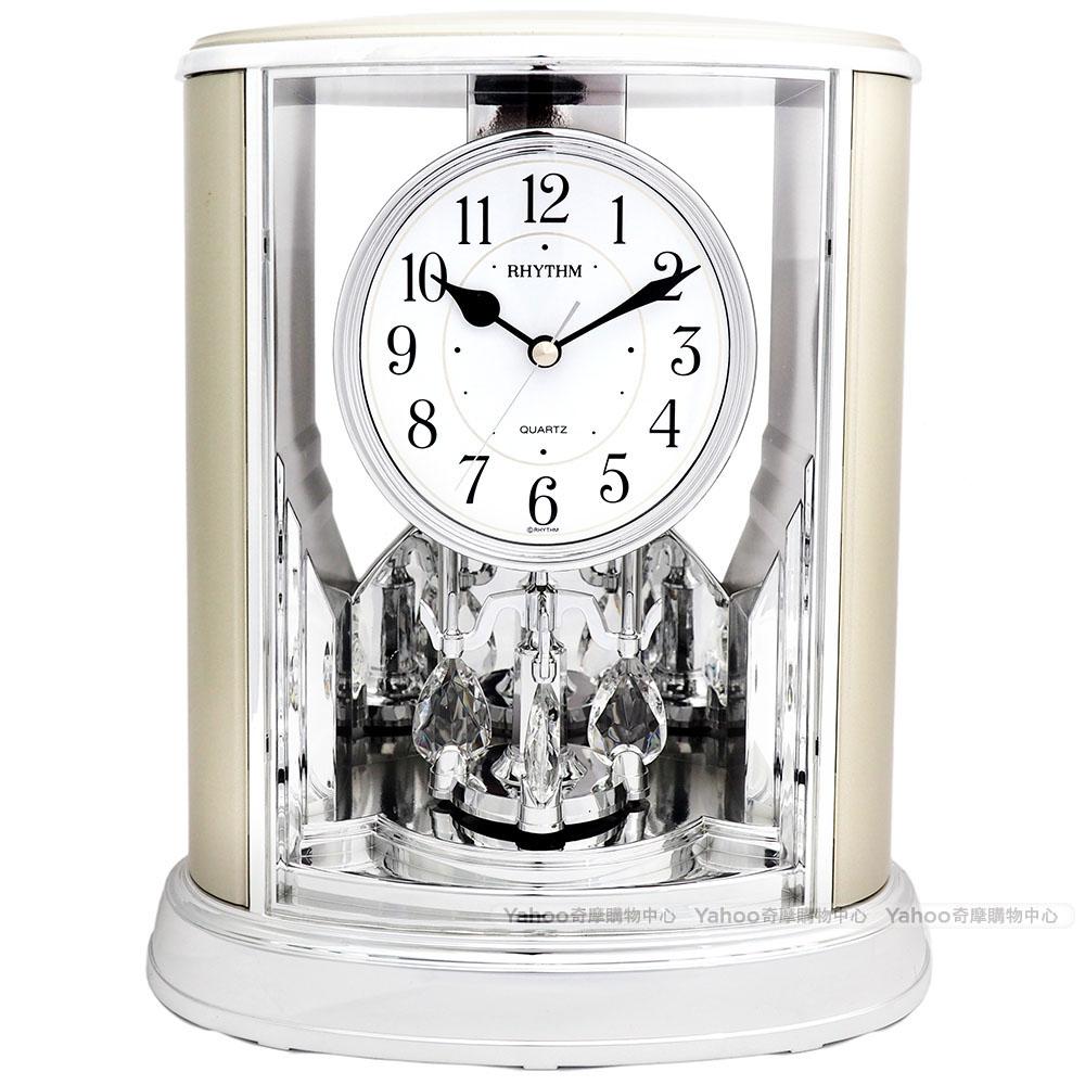 RHYTHM日本麗聲 歐風世紀經典宮廷裝飾座鐘(雅致雪地銀)/24cm